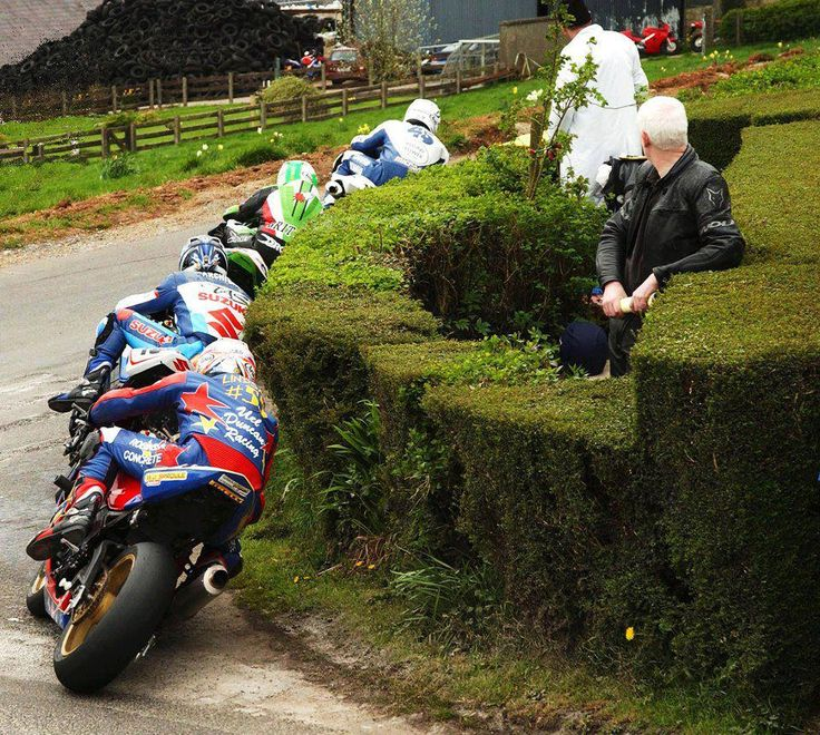 Isle of Man TT. Unbelievably close to banks and walls.