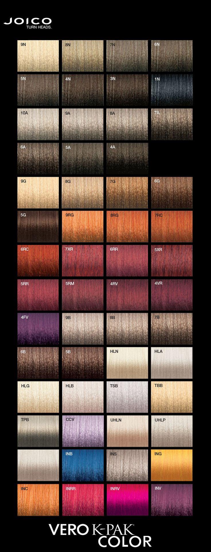 Joico Vero K-Pak Colour Palette.