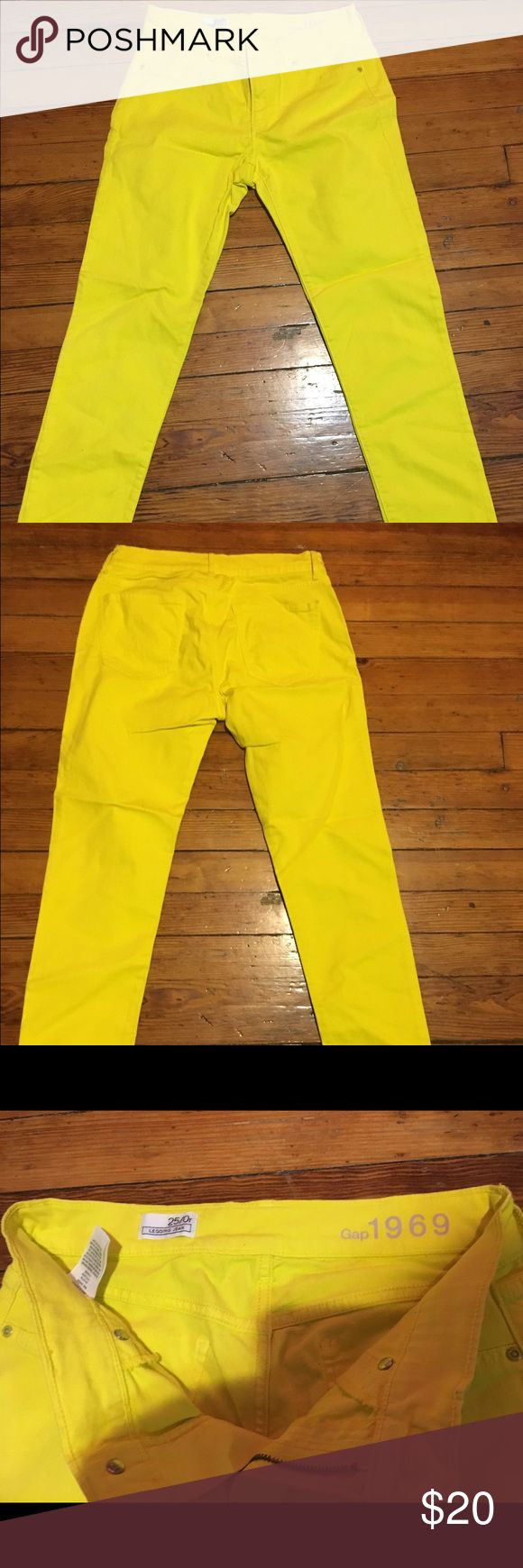 Neon yellow skinny jeans Lightly used,  neon yellow Gap skinny jeans GAP Pants Ankle & Cropped