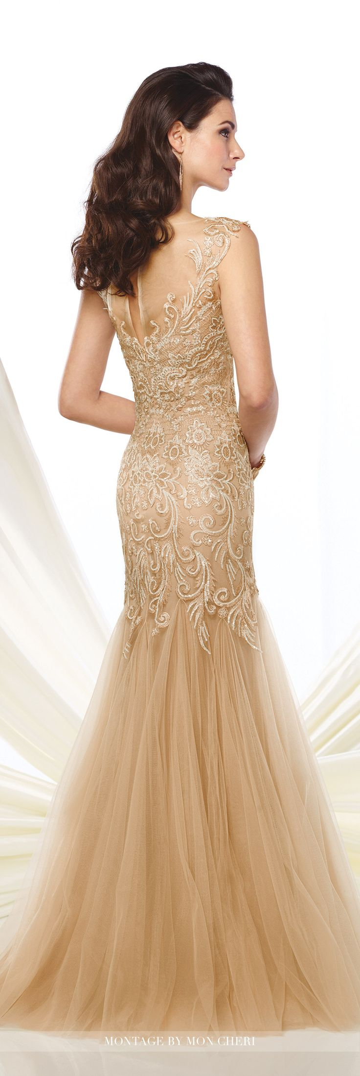 Formal Evening Gowns by Mon Cheri - Fall 2016 - Style No. 216964 - metalliac lace trumpet evening gown with slight cap sleeves