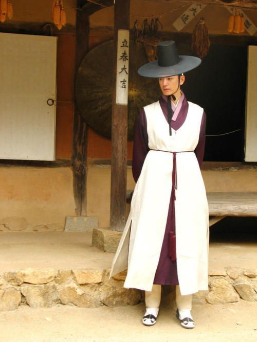 male hanbok and `gat` - wide hat for man