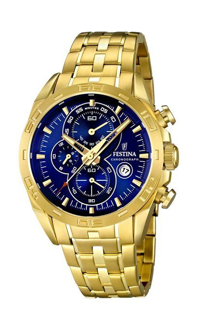 Festina F16656/3 - Reloj analógico de cuarzo para hombre, correa de acero inoxidable chapado color dorado (cronómetro)