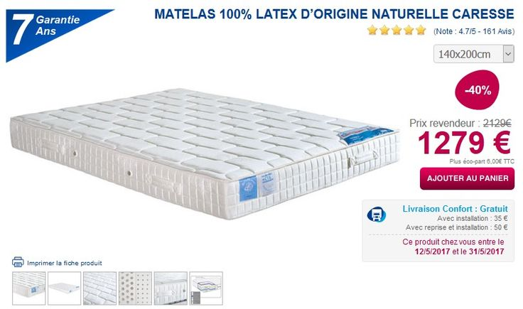 Matelas 100% latex naturel CARESSE - Ma Literie
