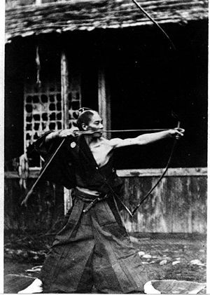 """Kyūjutsu (弓術?) (""""art of archery""""), is the traditional Japanese martial art of wielding a bow (yumi) as practiced by the samurai class of feudal Japan. Training involved the shooting of 1,000 arrows per day, and the techniques developed for their use were ritualized with systematic focus on the various stages of shooting and the mental attitude required for each. Additionally, many specialized tactics were developed for regiments of bowmen."""