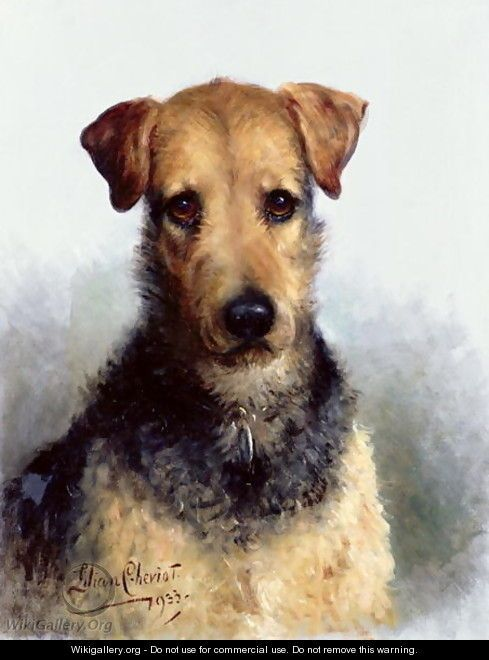 """""""Wire Fox Terrier, 1933"""" oil on Canvas."""
