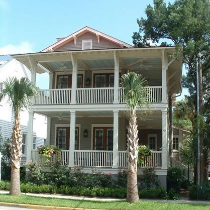 Traditional Southern Style Plans and Wrap Around Porch Floor Plans - Notice that they painted posts grey under the porch