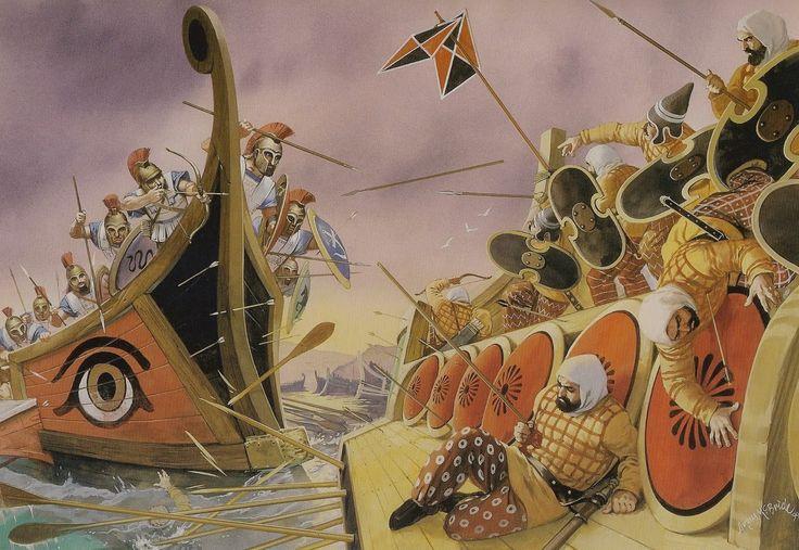 The battle of Salamis (480 B.C.).