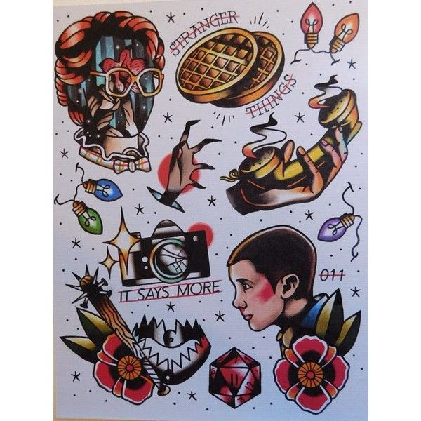 Stranger Things Inspired Flash Sheet Print Liked On Polyvore Featuring Home Home Decor Wall Art Tex Stranger Things Tattoo Tattoo Flash Sheet Flash Tattoo