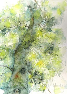 Cristina Dalla Valentina - Albero verde 41 x 30 cm acquerello su carta, originale, firmato, con cornice nei colori del dipinto watercolor on paper, original, signed, framed in the colors of the painting € 160 (incorniciato / framed) #watercolor #painting #art