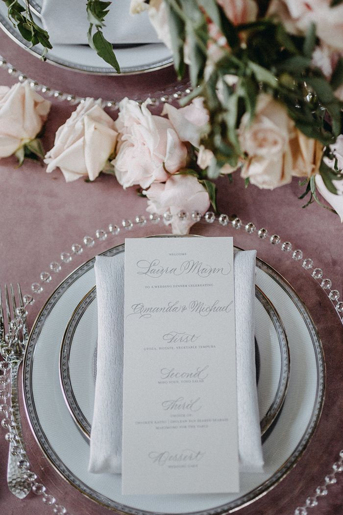 Dusty Rose and Silver Place Setting