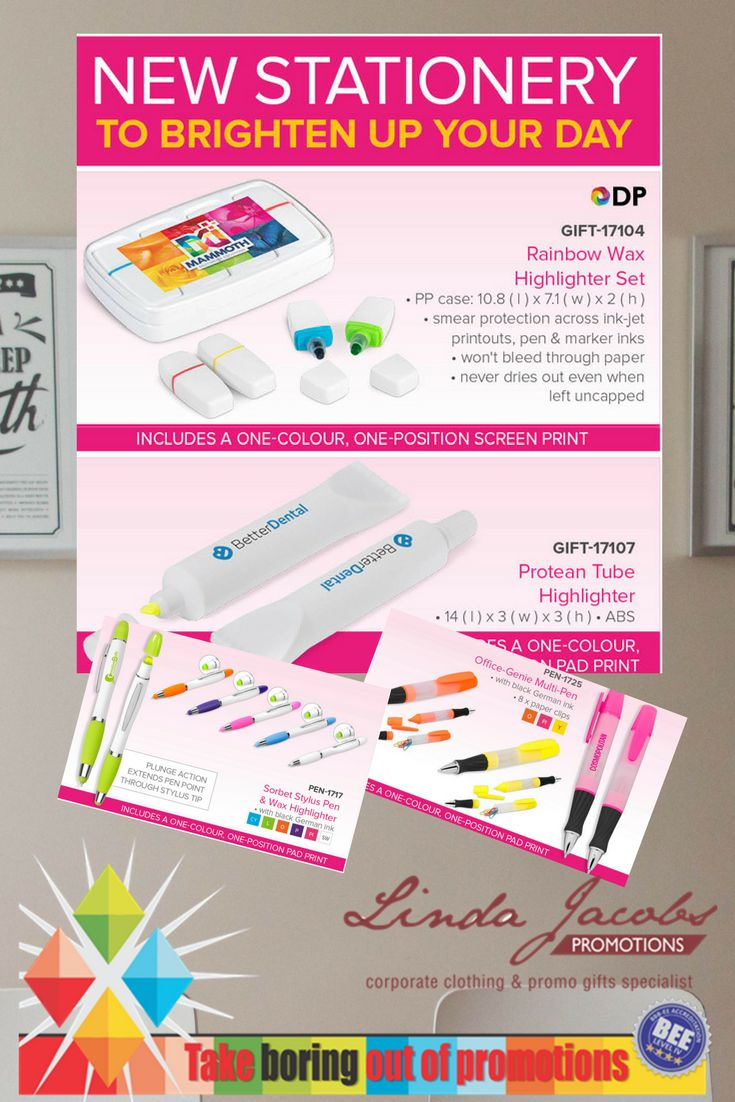 New Stationery to brighten up your day! 🖊️Rainbow Wax highlighter set 🖊️Protean Tube highlighter 🖊️Pen & wax highlighter 🖊️Office Multi-Pen For more info - See more products on our website - http://www.lindajacobspromotions.co.za/ Email: linda@lindajacobspromotions.co.za