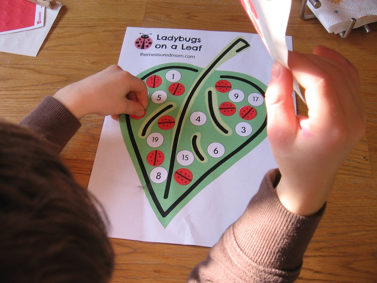 """Ladybirds on a Leaf Printable by The Measured Mom - a number recognition activity (& fine motor) with 3 different printables to provide varying difficulty levels ("""",)"""