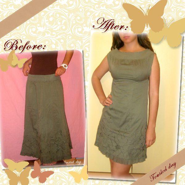 DIY Fashion ▬ De falda a vestido con un par de costuras #sewing #skirt #dress