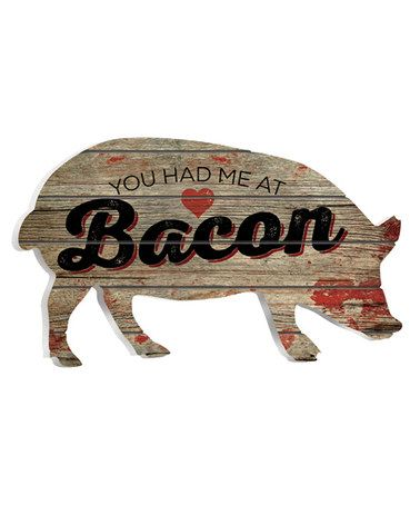 Pig sign 'You Had Me at Bacon' Wall Art | Can't you see this in a farmhouse kitchen? | home decor | pallet wood