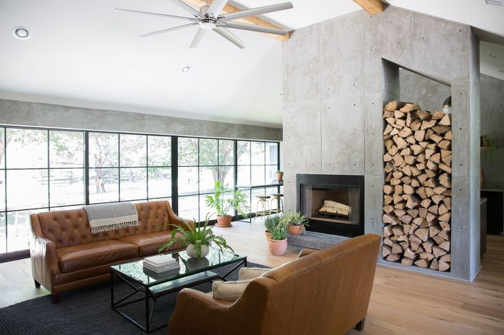 These custom windows along the back of the house combined with this fireplace made the Wixsom living space one of my favorites from season 4!