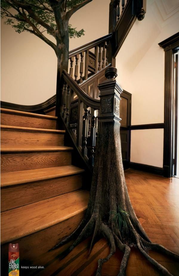 "Old English Furniture Polish: ""STAIRS"" Print Ad  by Euro Rscg Worldwide (Step House Living Rooms)"