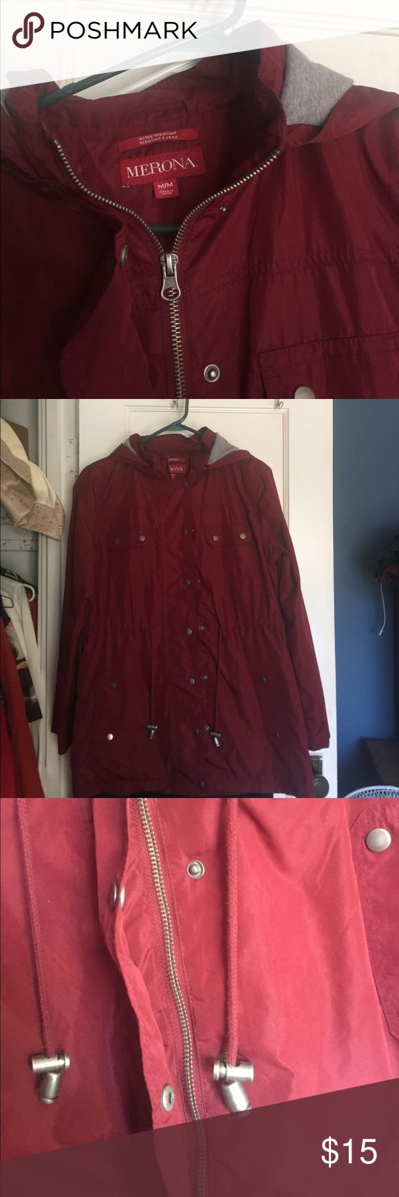 Burgundy lightweight water resistant jacket MAKE AN OFFER! Everything in my closet needs to go by mid-July or it will be donated. Lightweight coat with several pockets. Can cinch in at the waist Merona Jackets & Coats
