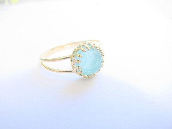 Gold opal ring, gold ring with pacific opal stone, stackable ring,  vintage ring, bridal jewelry. $25.00, via Etsy.