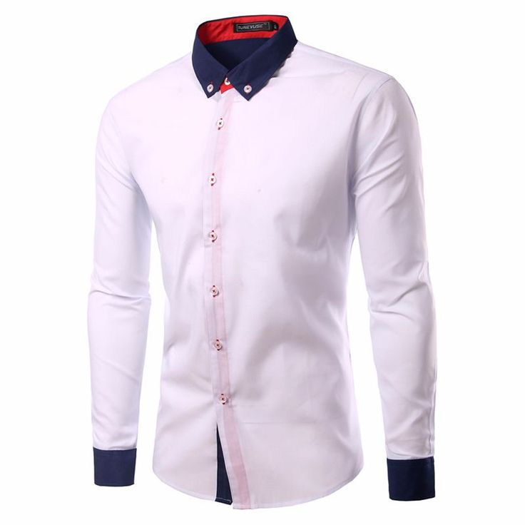 Long Sleeve Casual Shirts Camisa Slim Fit Patchwork Collar Masculina http://mobwizard.com/product/2016-new-cl32658276306/