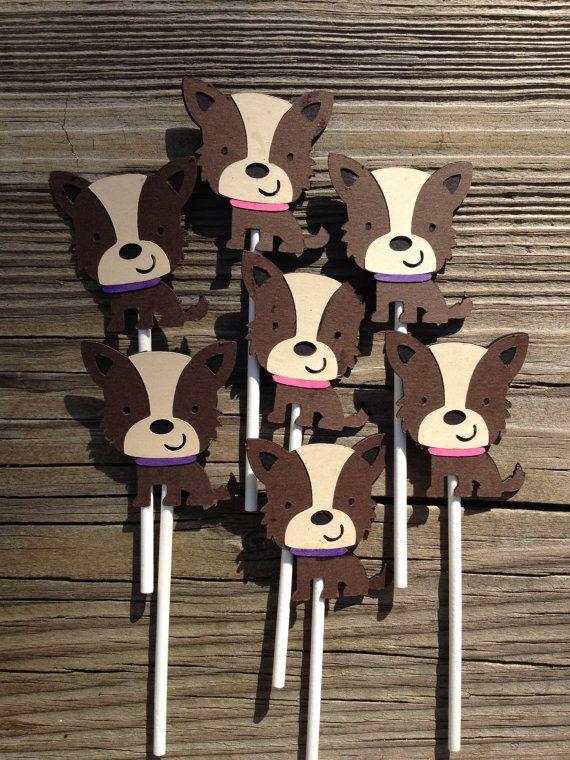12 Yorkie Dog Puppy Themed Cupcake ToppersPuppy by MiaSophias, $11.99