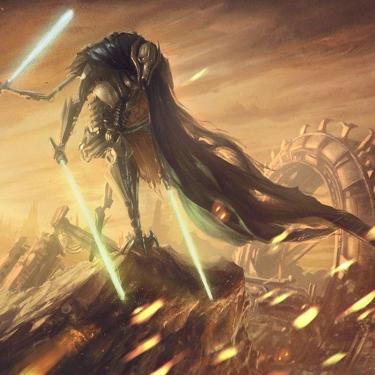GENERAL GRIEVOUS Star Wars Original Art Print signed by artist Scott Harben