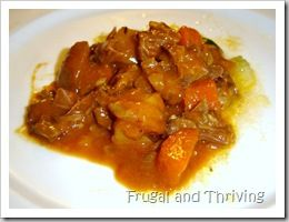 A favourite lamb stew, adjusted for the slow cooker. This stew has lots of flavour, is easy-peasy when thrown in a slow cooker and uses a very cheap (but tasty) cut of meat. A guaranteed family favourite.
