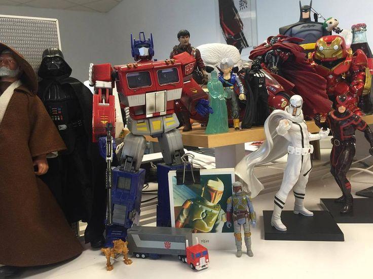 A glimpse into my #workdesk  whats your desk look like.   #toy #toys #optimusprime #transformers #obiwankenobi #darthvader #starwars #bobafett #magneto #Cyclops #hulkbuster #marvel #marvelcomics #ironman #funko #dragonballz #akira #spawn #batman #comicbooks #toycollector #joker #dccomics #xmen #avengers http://ift.tt/2t5KPI3