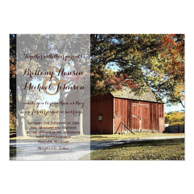 Rustic Barn And Trees Country Wedding Invitation
