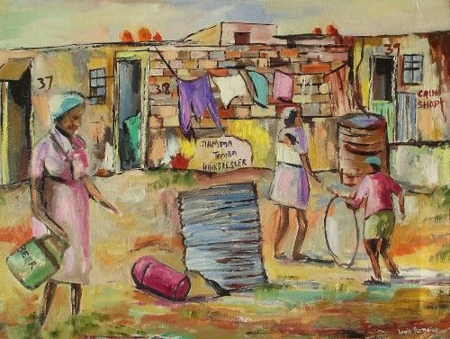 Buy MAMA TEMBA HAIRDRESSER  (OIL ON STRETCHED CANVAS:870mm x 630mm x 30mm) for R3,400.00
