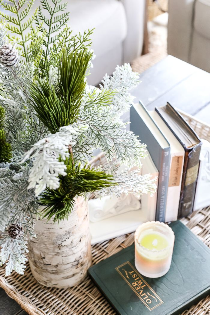 A quick tutorial for how to make a DIY birch bark vase for cheap using items from your pantry to create a cozy style for displaying faux florals.