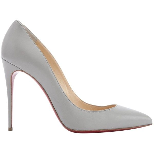 Pre-owned Christian Louboutin Pigalle Leather Heels (24,080 PHP) ❤ liked on Polyvore featuring shoes, pumps, grey, women shoes heels, grey leather pumps, gray leather pumps, christian louboutin, grey shoes and grey pumps