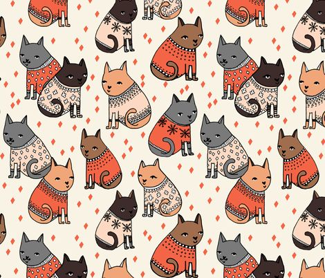 Cats at a Sweater Party - by Andrea Lauren - andrea_lauren - Spoonflower