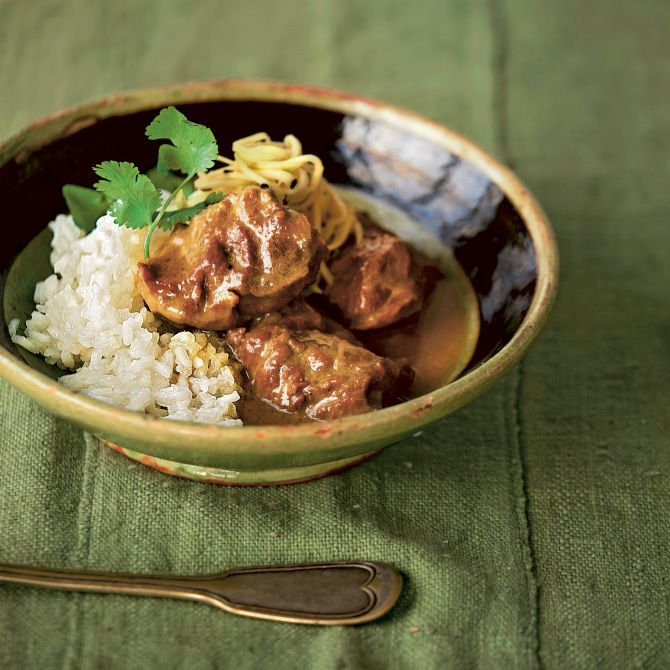 Braised pork cheeks with coconut & lime leaf by Paul Merrett... #wealdentimesrecipes