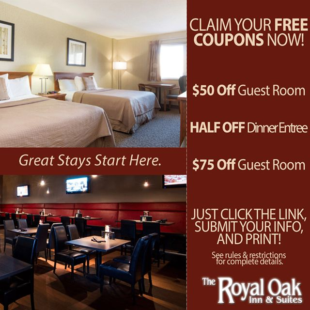 Receive $50 OFF a guest room, HALF OFF a dinner entree and $75 OFF a guest room! Print your FREE coupon here: bit.ly/1axaal4