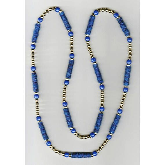 One-of-a-kind Handmade Necklace with royal blue Fiber Beads
