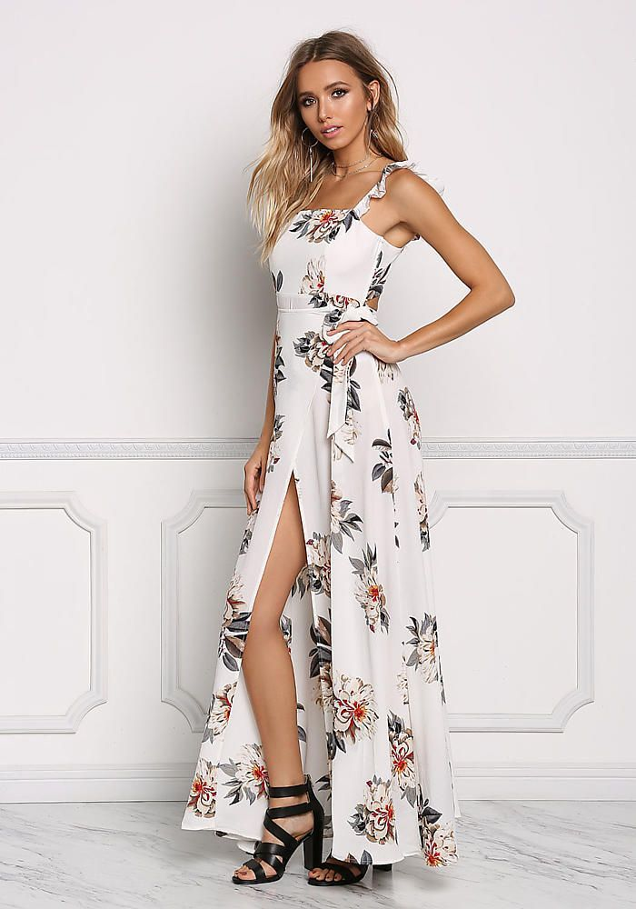 b4e49ad24d Ivory Floral High Slit Cut Out Maxi Dress - Going Out - Dresses ...