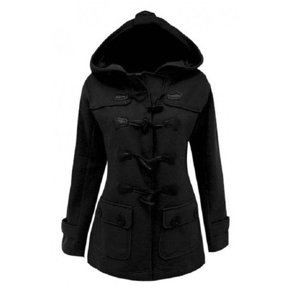 Women's Plus Size Long Sleeve Double Breasted Pea Coat Hoodie Winter... ❤ liked on Polyvore featuring outerwear, jackets, double breasted peacoat, pea jacket, pea coat, double breasted pea coat and plus size womens jackets