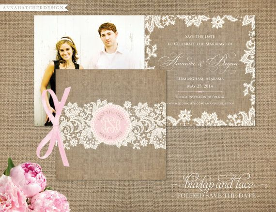 Burlap and Lace Folded Save the Date Cards or by AnnaHatcherDesign, $25.00