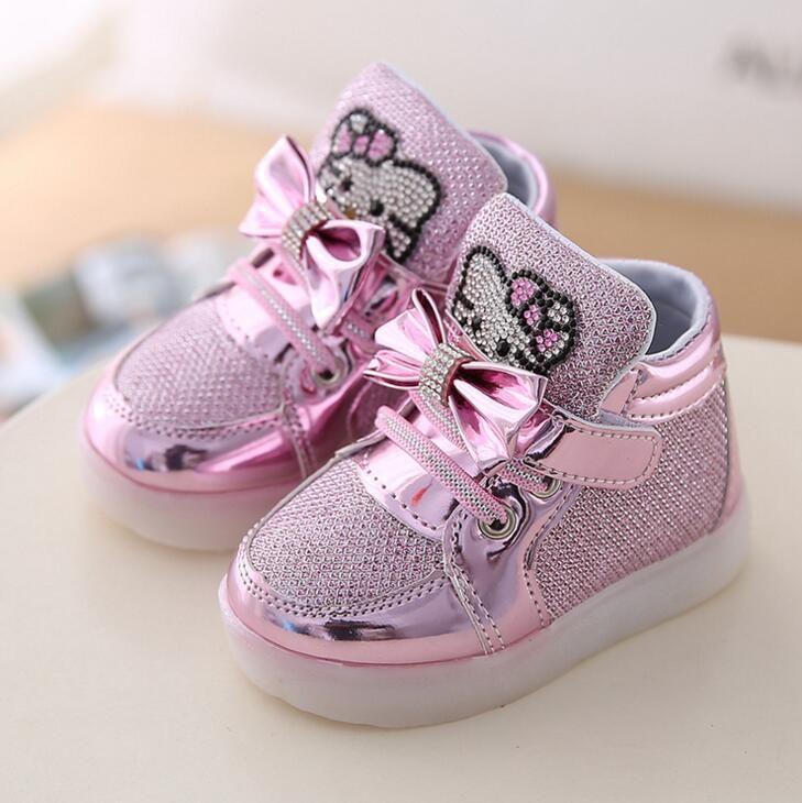 New Kitty Cat Diamond Princess Girls Sports Shoes Autumn-Winter Cartoon LED Sneakers Korean Children High Top Boots Kids Shoes