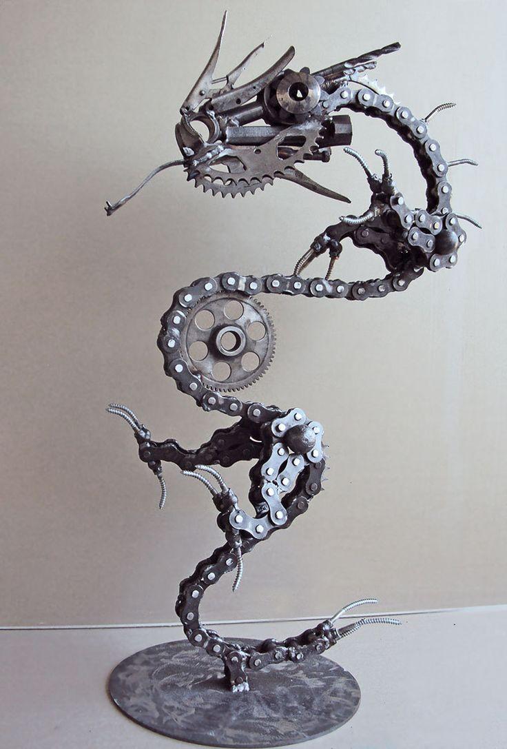Steampunk metal dragon sculpture