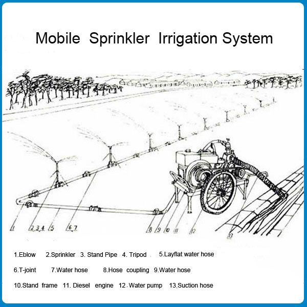 Economic Automatic Agricultural Watering Farm Used Diesel Pump Sprinkler Irrigation