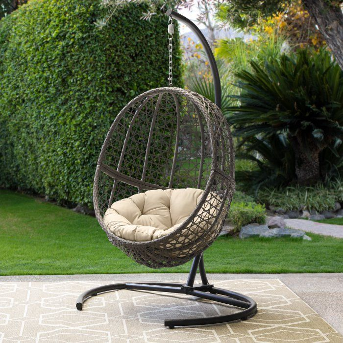 Belham Living Resin Wicker Hanging Egg Chair With Cushion And Stand Hayneedle Hanging Egg Chair Egg Chair Hanging Chair