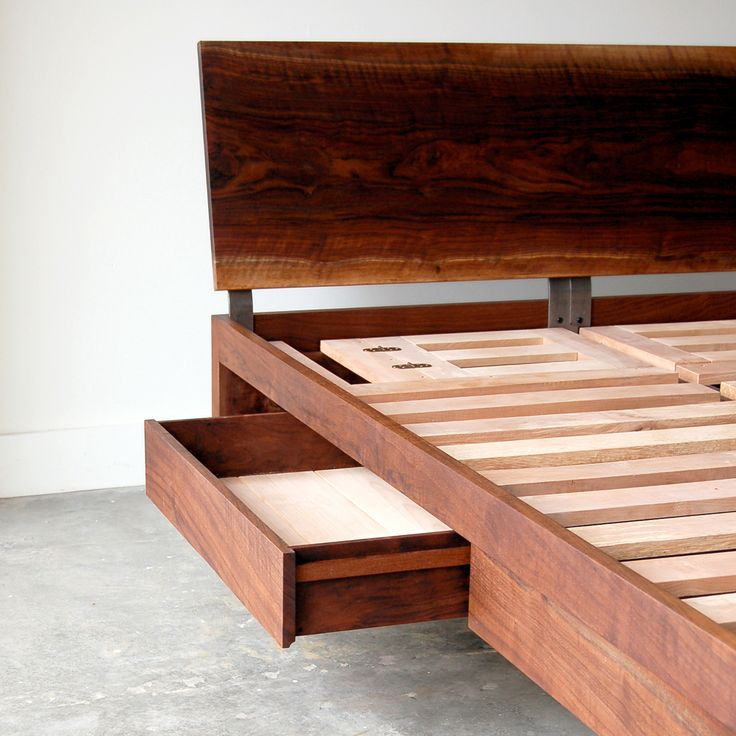 Hot Handcrafted Wooden Bed Fram W Drawers