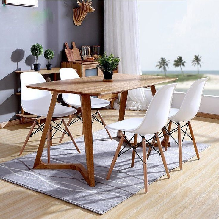 4PCS White Eames DSW Style Chairs Office Dining Chair