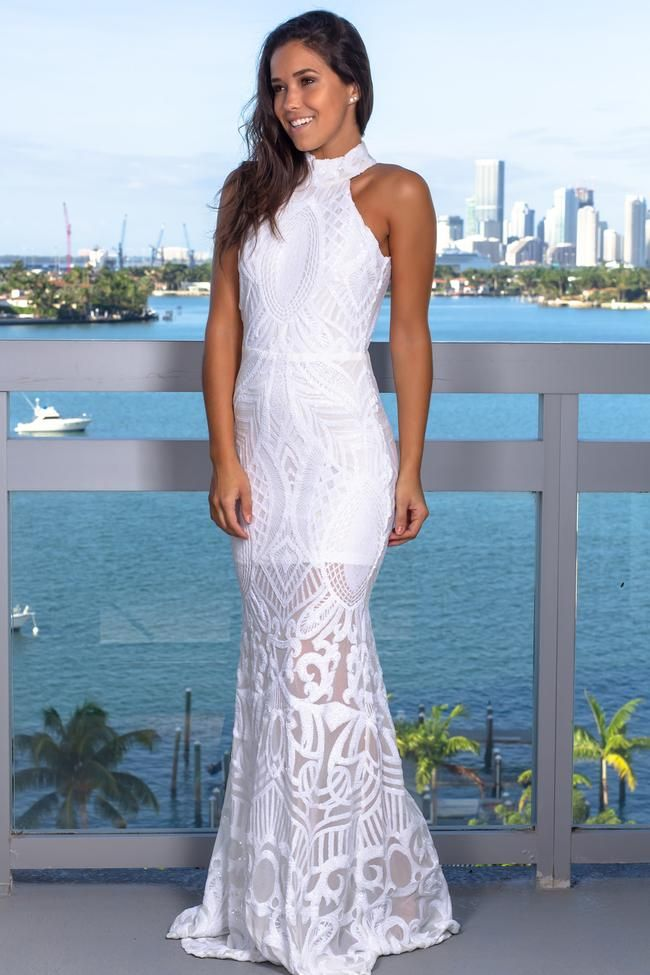 2273bd01692df White Halter Neck Sequin Maxi Dress   Get The Look in 2019   Dresses ...