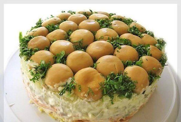Салат Грибная поляна - настоящее украшение праздничного стола!