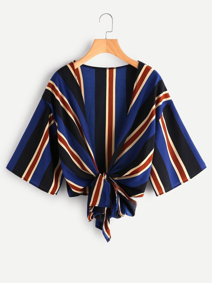 Shop Drop Shoulder Knotted Hem Striped Kimono online. SheIn offers Drop Shoulder Knotted Hem Striped Kimono & more to fit your fashionable needs.