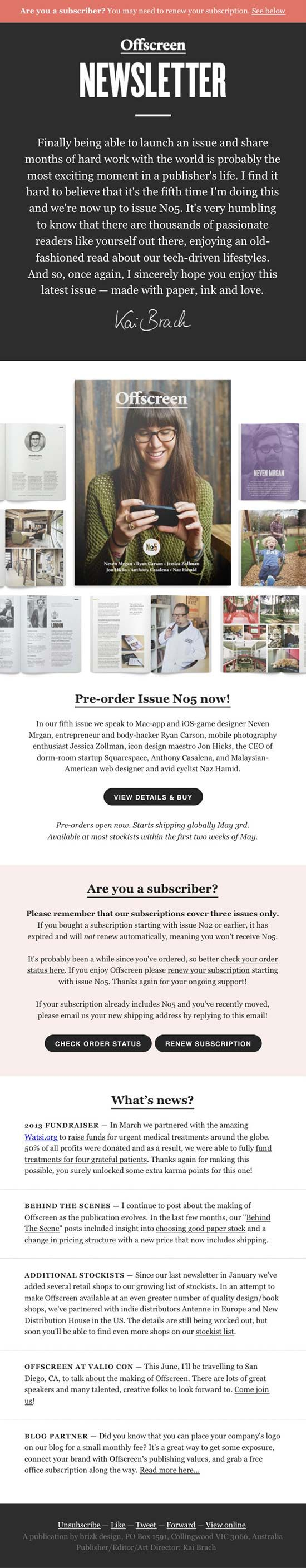 47 best email design images on pinterest email newsletter design product update email design from offscreen magazine altavistaventures Image collections