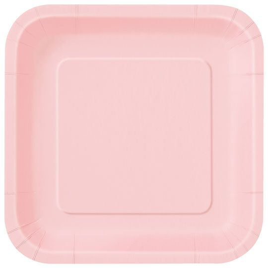 "9"" Square Light Pink Dinner Plates, 14ct"