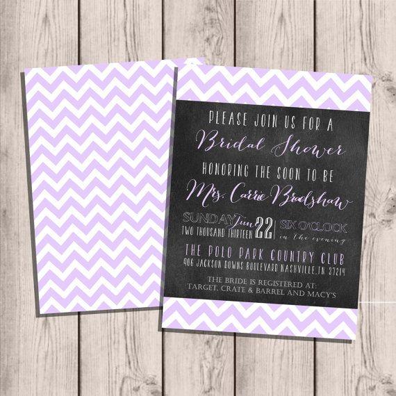 Custom Bridal Shower Invitation, Bridal Shower Party, Chevron & Chalkboard, Double-Sided, 5x7 on Etsy, $15.00